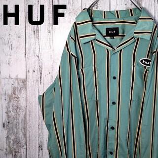 HUF - 【美品】HUF ハフ グリーン マルチストライプ オープンカラーシャツ XL