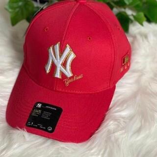 ニューエラー(NEW ERA)の新品レッドMLB  ヤンキースロゴ 帽子キャップ 韓国ファッション ヴィンテージ(キャップ)