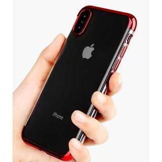 クリアケース iPhone XS , X レッド オシャレ アイホンケース(iPhoneケース)