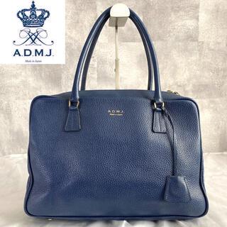 A.D.M.J. - 【ADMJ】エーディーエムジェー シュリンク型 ネイビー レザー ボストンバッグ