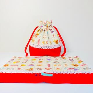 【2点セット】アンパンマン(赤)★弁当袋&ランチョンマット(外出用品)