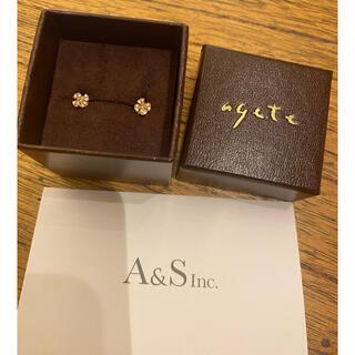 agete - 未使用☆アガット クローバーピアス K18 保証書付き☆