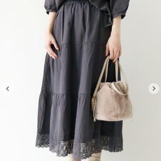 SM2 - サマンサモスモス ティアード裾レーススカート チャコール