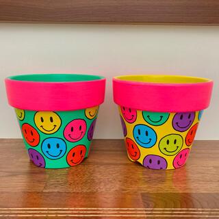 【4号】2個セット ハンドメイド 植木鉢 リメ鉢 スマイリー(プランター)