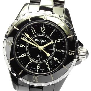 シャネル(CHANEL)のシャネル J12 黒セラミック デイト H0682 レディース 【中古】(腕時計)