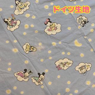 ミッキーマウス(ミッキーマウス)のドイツ生地 ミッキー ミニー デイジー 90×120 コットン ビンテージ(生地/糸)