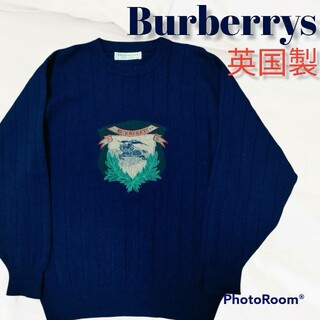 バーバリー(BURBERRY)の希少❗バーバリーズ ニット セーター バーバリー ホースロゴ 刺繍 青 ウール(ニット/セーター)