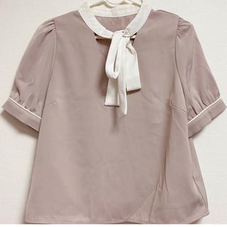 エブリン(evelyn)のAn MILLE リボンブラウス ピンク(シャツ/ブラウス(半袖/袖なし))