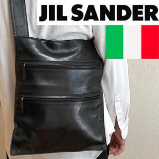 Jil Sander - 美品!イタリア製!JIL SANDER レザーWジップショルダーバッグ定価10万