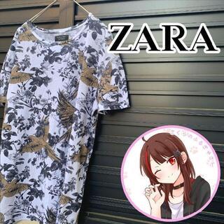 ZARA - ザラ ボタニカル Tシャツ M 総柄 シャツ 花柄 ZARA 派手柄 アロハ