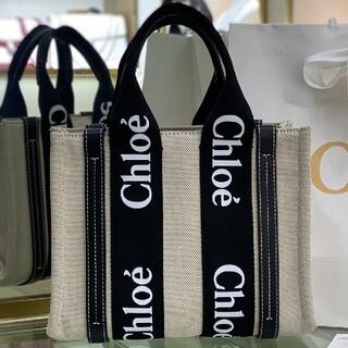 【S】Chloe クロエ woody トートバッグ 黒+ホワイトフォント#101