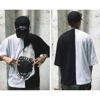 【個性派デザイン】サメ柄ビックプリント Tシャツ