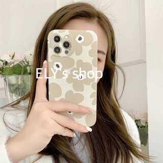 iPhone12ケース カバー ベージュ おしゃれ 北欧花柄 レザー かわいい