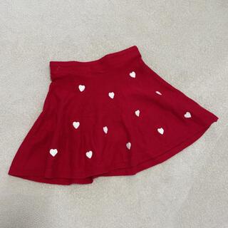 エイチアンドエム(H&M)のH&M ハート柄♡刺繍のニットスカート赤 130(スカート)
