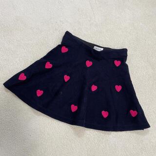 エイチアンドエム(H&M)のH&M ハート刺繍のニットスカート・ネイビー140(スカート)