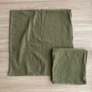 MUJI (無印良品) - 無印座布団カバー カーキ2枚セット