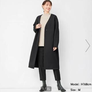 ジーユー(GU)の【新品】guダブルフェイスノーカラーコートLサイズ(ロングコート)