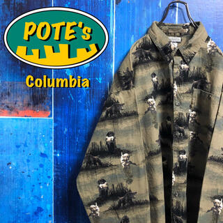 Columbia - 【コロンビア】アニマル柄ドッグ柄ロゴタグ入り総柄ビッグハンティングシャツ