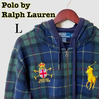 POLO RALPH LAUREN - 【美品】ラルフローレンフルジップパーカーフーディLチェック柄ビッグポニー