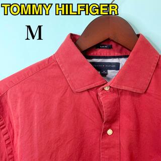 TOMMY HILFIGER - 【定番カラー】トミーヒルフィガー長袖シャツボタンダウンM赤美品秋春コットン