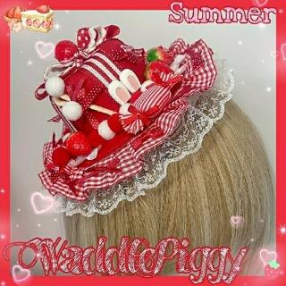 Angelic Pretty - ロリータ いちご うさぎ キャンディ ミニハット