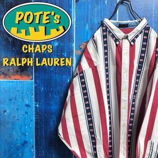 Ralph Lauren - 【チャップスラルフローレン】星条旗ロゴ柄ビッグマルチストライプシャツ 90s