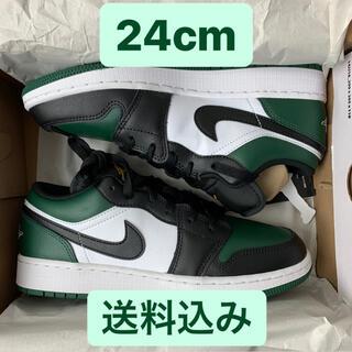 NIKE - Nike GS Air Jordan 1 Low Green Toe 24cm