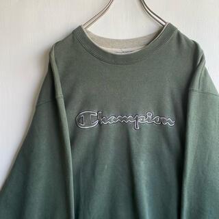 Champion - 古着 Champion 刺繍 深緑 グリーン トレーナー 二重襟