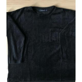レイジブルー(RAGEBLUE)のベルベット素材 ブラックロングTシャツ(Tシャツ/カットソー(七分/長袖))