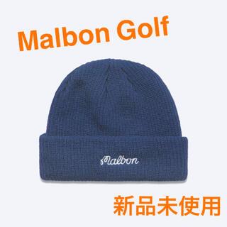 BEAMS - 【Mlbon Golf】Malbonのロゴ刺繍入りビーニー ニット帽 ネイビー