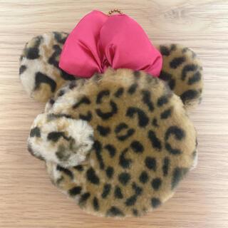 ミニーマウス(ミニーマウス)のミニー ストラップ 定期入れ カード入れ 鏡 ヒョウ柄(キャラクターグッズ)