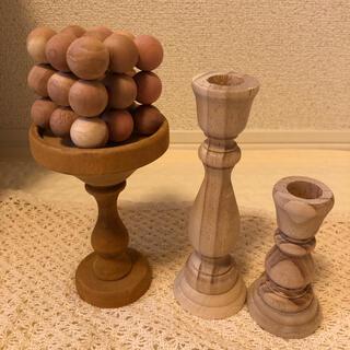 キャンドルホルダー 木製 セット 韓国 雑貨