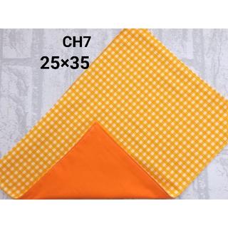 CH7 ランチョンマット チェック柄 オレンジ ナフキン ハンドメイド(外出用品)