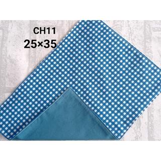 CH11 ランチョンマット チェック柄 オーシャンブルー ナフキン ハンドメイド(外出用品)