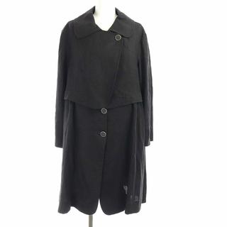 フェンディ(FENDI)のフェンディ 丸襟ロングコート アウター フェイクレイヤード 麻 リネン 42 黒(その他)