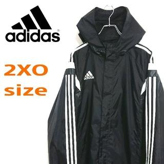 アディダス(adidas)のadidas アディダス 黒 ビッグサイズ  ナイロンジャケット フーディー(ナイロンジャケット)