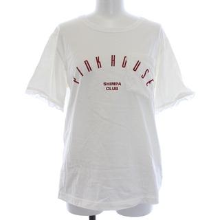 ピンクハウス(PINK HOUSE)のピンクハウス Tシャツ カットソー 半袖 クルーネック ロゴ フリル L 白 赤(Tシャツ(半袖/袖なし))