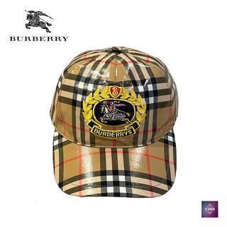 バーバリー(BURBERRY)のバーバリー ベースボール キャップ 帽子 ラミネート加工 メンズ チェック(キャップ)