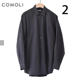 COMOLI - COMOLI 21ss コモリシャツ ネイビー サイズ2 comoliシャツ