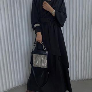 Ameri VINTAGE - BULGE SHOULDER DRESS ブラック