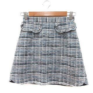 リランドチュール(Rirandture)のリランドチュール Rirandture 台形スカート ミニ ツイード 0 紺 ネ(ミニスカート)