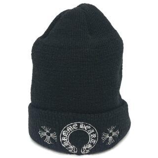 Chrome Hearts - 美品 クロムハーツ CHプラス 刺繍 ホースシュー ダブルニット帽 ブラック