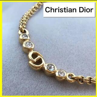 Christian Dior - 美品✨クリスチャンディオール ネックレス CDロゴ ラインストーン付き