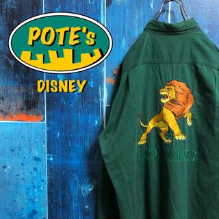 Disney - 【ディズニー】ライオンキングビッグキャラ刺繍ロゴダブルポケットチノシャツ 90s