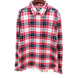 ビームス(BEAMS)のビームス BEAMS シャツ 長袖 チェック L 赤 レッド 紺 ネイビー 白(シャツ/ブラウス(長袖/七分))