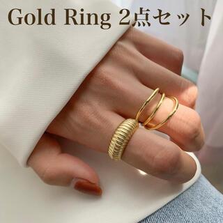 指輪 セット レディース  ゴールド 2個 セット ペアリング  フリーサイズ