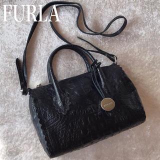Furla - FURLA フルラ クロコ型押しハンドバッグ ショルダーバッグ