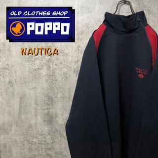 NAUTICA - ノーティカジーンズ☆刺繍ロゴ入りサイドハーフジップラインジャージスウェット