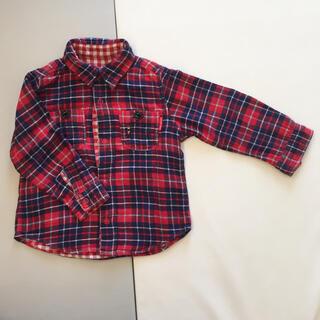 ミキハウス(mikihouse)のミキハウス ダブルビー  チェックシャツ 赤 70(シャツ/カットソー)