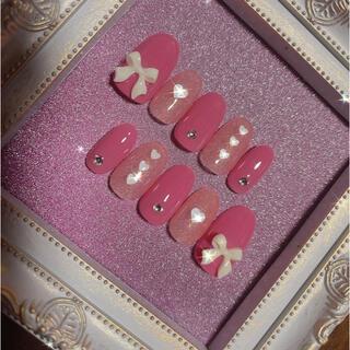 snidel - 【送料込み】リボンパーツ♡韓国風ネイル♡つやつやピンクネイルチップ10本セット♡